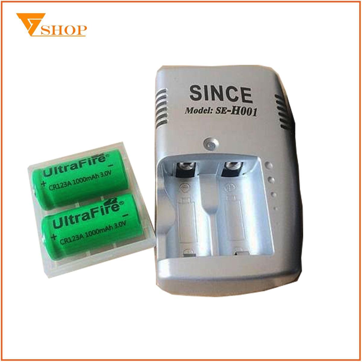 1 máy sạc pin Cr123A kèm 2 viên pin sạc Cr123A Ultra Fire 3V, pin sạc Cr123A máy ảnh