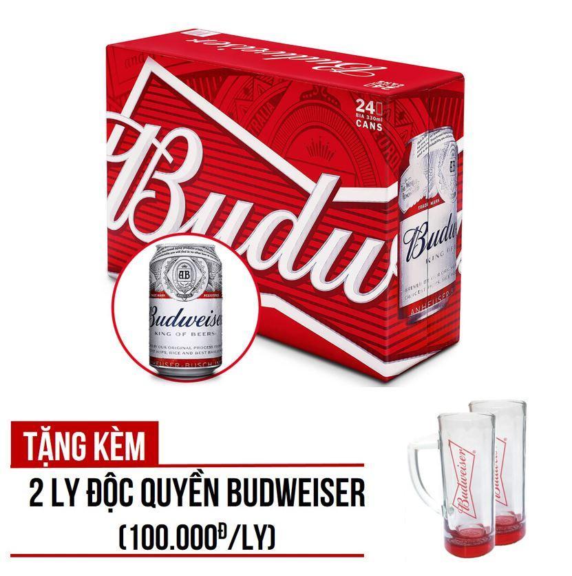 Budweiser lon 330ml - Thùng 24 - tặng kèm 2 ly Budweiser