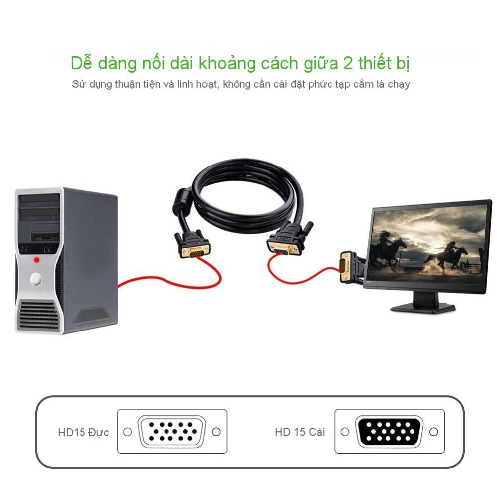 Dây nối dài VGA đực sang cái 3+6 OD8.0MM dài 2-3m UGREEN VG103