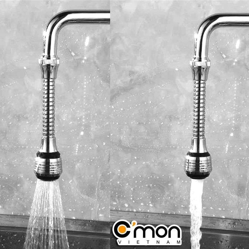 Hình ảnh Bộ 2 đầu vòi rửa tăng áp điều hướng trục lò xo 15cm 360 độ với 2 chế độ nước C'MON DV-02 (Bạc)