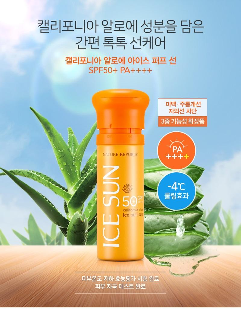 Kem Chống Nắng Nature Republic Ice Sun Puff SPF50+