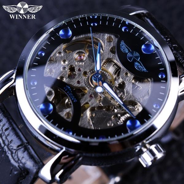 Hình ảnh Đồng hồ cơ nam Winner H005M DÂY DA lộ máy (Dây da đen mặt đen)