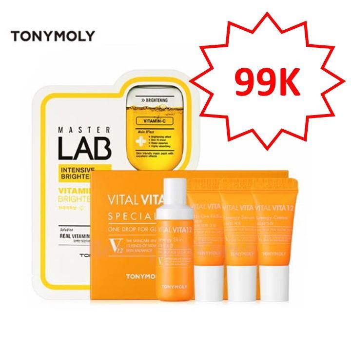 Hình ảnh Bộ Kit 4 món Vitamin C dưỡng da căng bóng Tonymoly Hàn Quốc Vital Vita 12 Glow skin