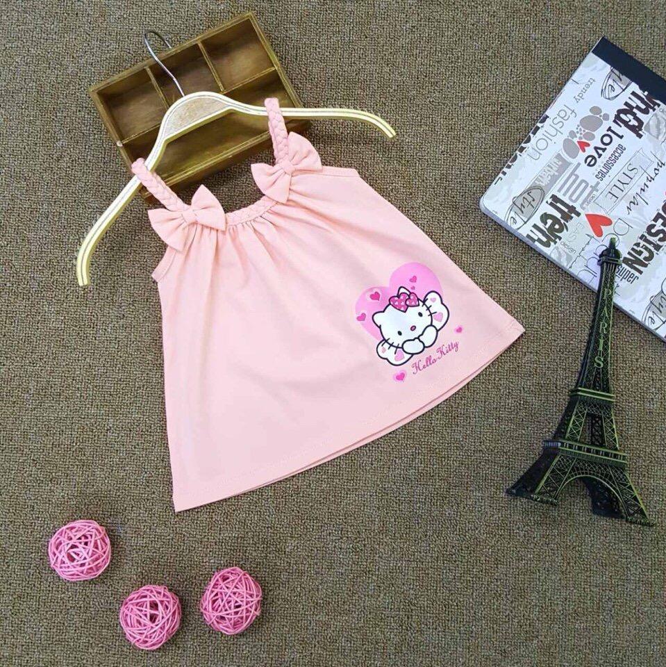 Giá bán Áo thun bé gái - Mèo kitty đính nơ (6 tháng đến 8 tuổi)-Hồng cam