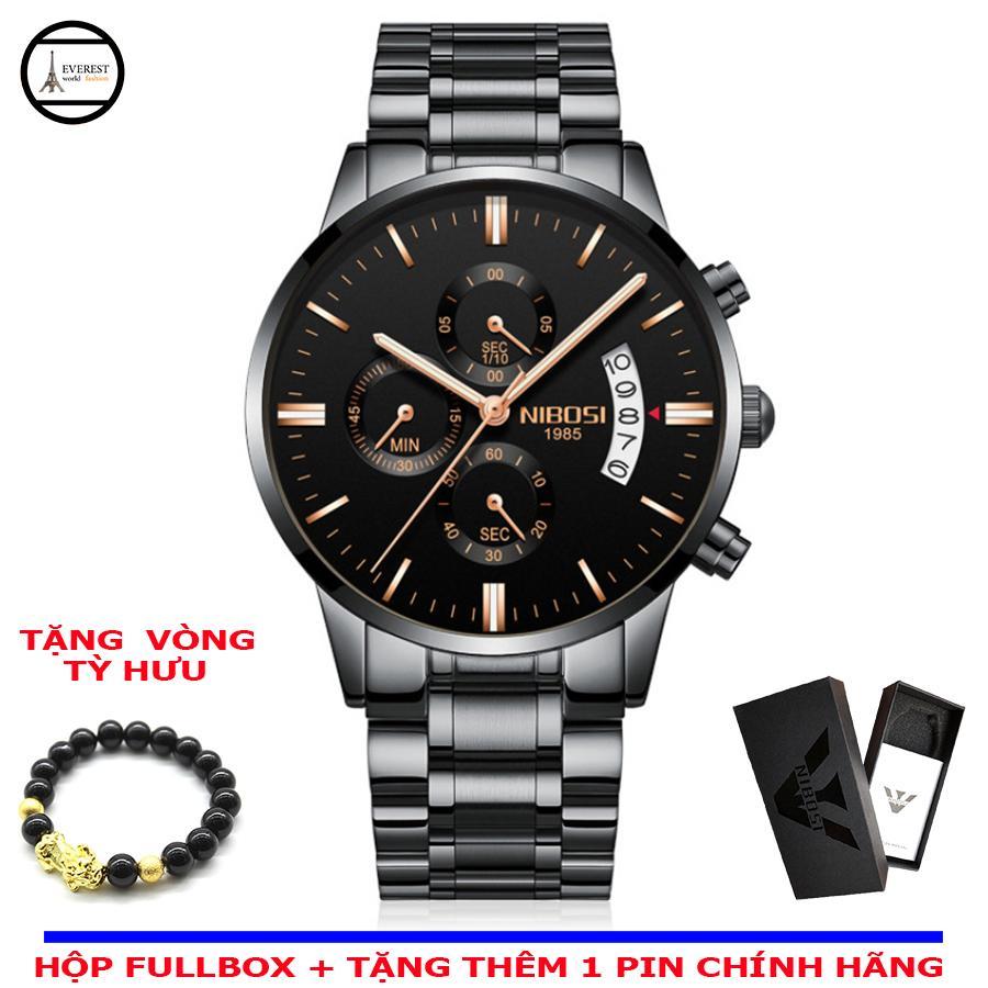 Đồng hồ nam, đồng hồ nibosi 2309 + Vòng tỳ hưu phong thủy