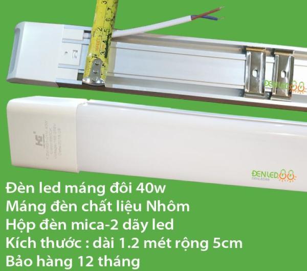 Bộ 2 đèn led Tuýp  máng đôi mica 40w-1.2 mét