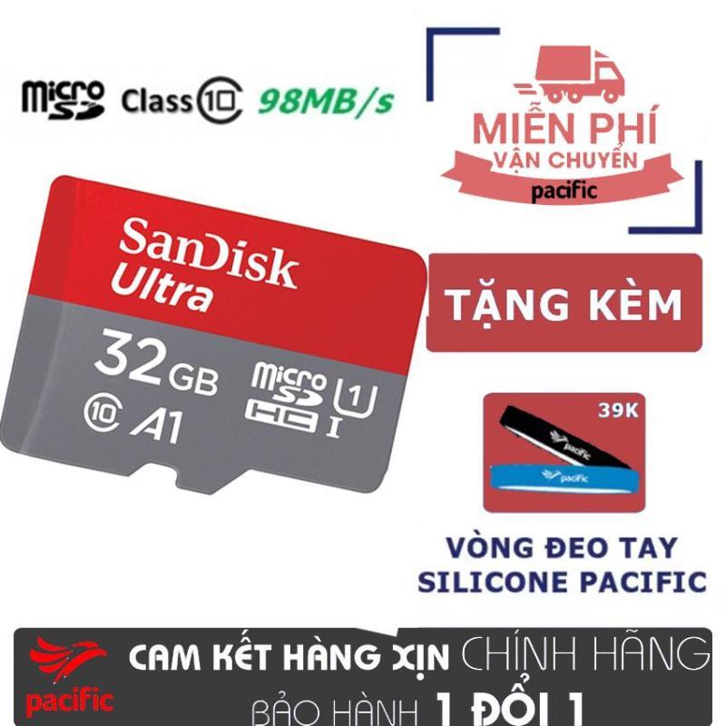 Thẻ nhớ SanDisk 32GB Ultra A1 MicroSDHC UHS-I 98MB/s - Tặng Vòng đeo tay Silicone Pacific