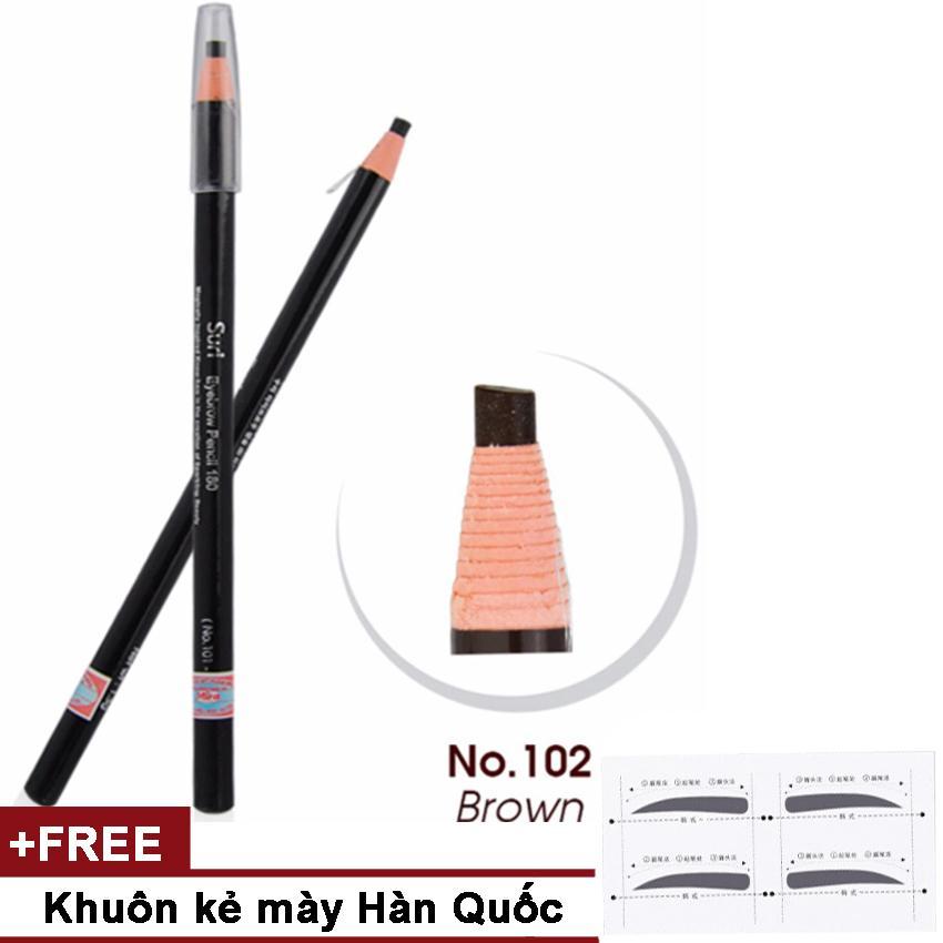 Chì kẻ mày dạng xé tiện dụng Suri Eyebrow Pencil No.102 Hàn Quốc 1.3g (Màu nâu) + Khuôn vẽ mày Hàn Quốc tốt nhất
