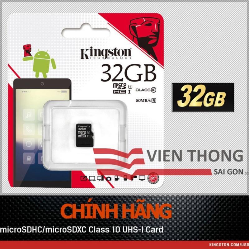Bộ thẻ nhớ Kingston Micro SDHC Class10 32GB  (Đen) + Tặng 1 đầu đọc thẻ nhớ micro (Mẫu ngẫu nhiên)