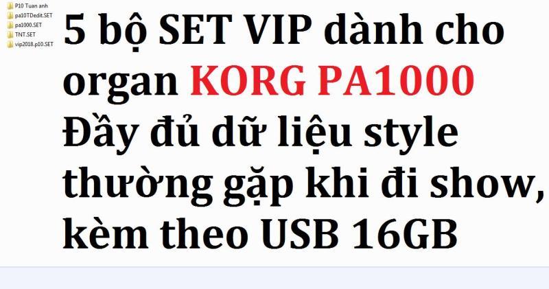 5 bộ SET VIP dành cho đàn Organ KORG PA1000