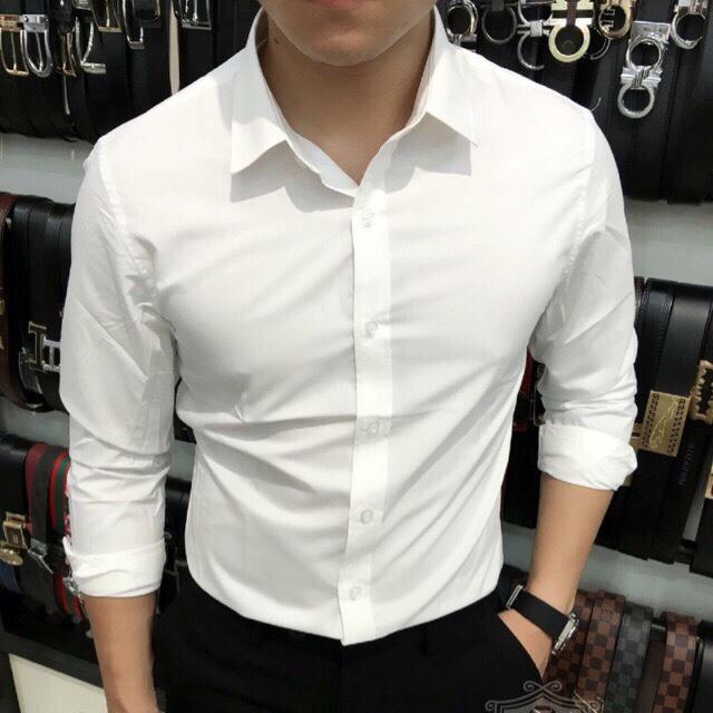 Áo sơ mi nam trơn dài tay màu trắng không nhăn dáng ôm Hàn Quốc, sơ mi nam vải lụa cao cấp form body