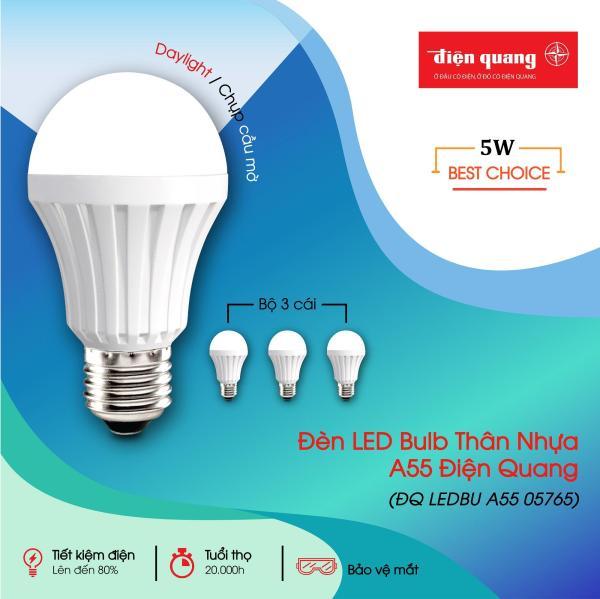 Combo 3 đèn LED Bulb Thân Nhựa A55 ĐQ LEDBU A55 (5W)