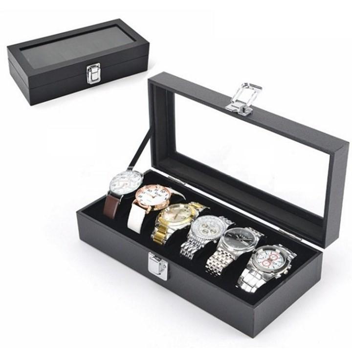 Hộp đựng đồng hồ cao cấp 6 ngăn bọc da PU - HĐ7 - hộp đồng hồ sang trọng có nắp nhựa kính quan sát đồng hồ bán chạy