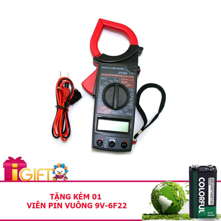 Kìm đo điện, đồng hồ vạn năng DT266 kỹ thuật số tiêu chuẩn CE - Tặng kèm pin vuông 9V-6F22