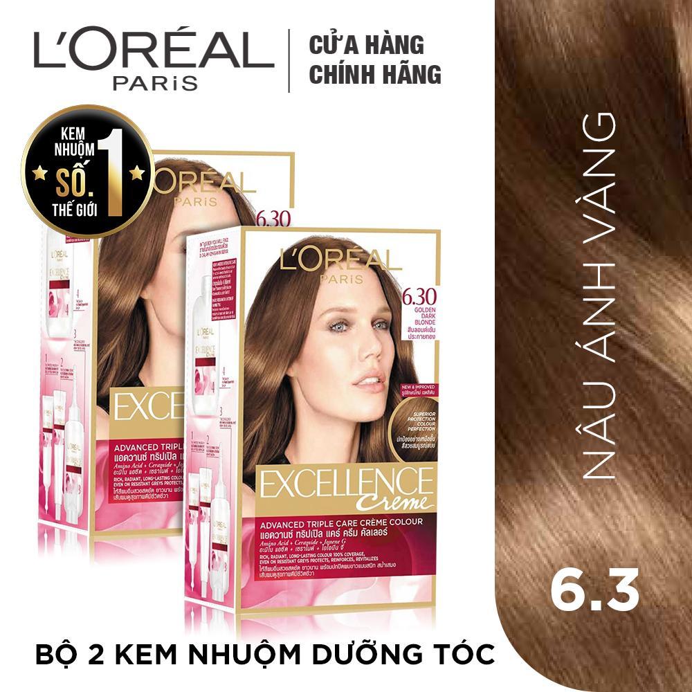 Hình ảnh Bộ 2 kem nhuộm dưỡng tóc phủ bạc L'Oreal Paris Excellence màu 6.30
