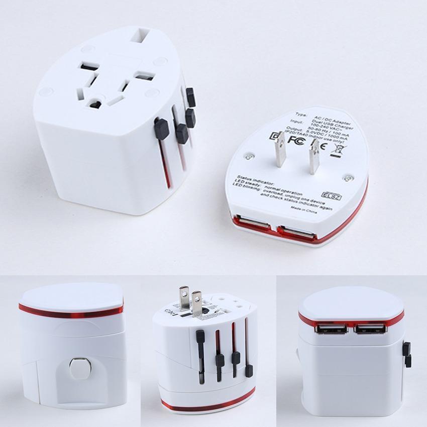 Ổ Cắm Điện Đa Năng Kèm 2 Cổng USB Hình Trụ  Sạc Điện Thoại - Du Lịch - Dã Ngoại Travel Adapter  GD0111