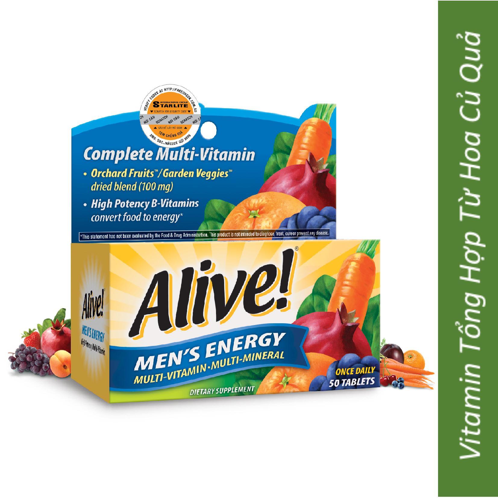Vitamin Tổng Hợp Nam Giới Alive Mens Energy, 50 Viên