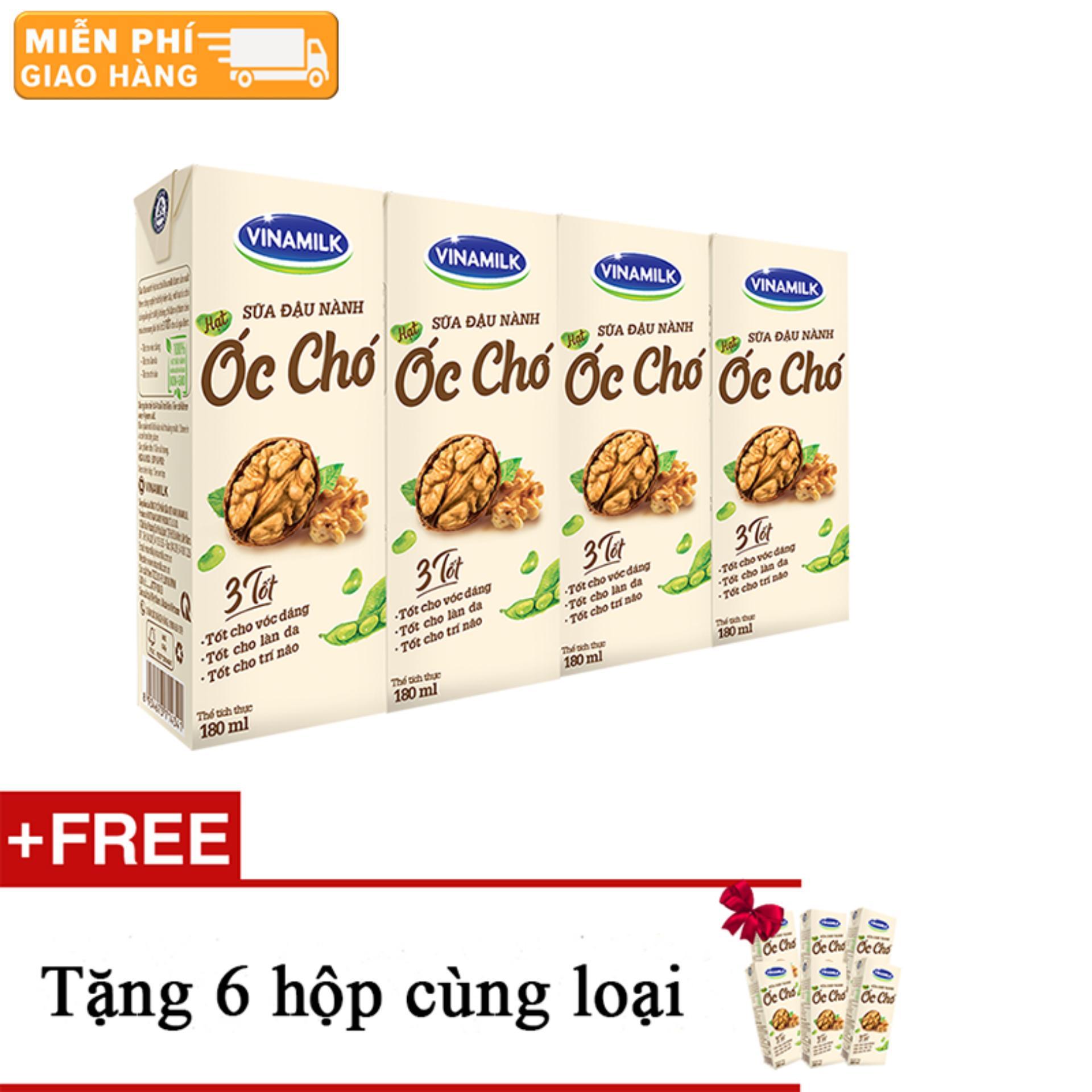Thùng 12 lốc Sữa đậu nành Vinamilk hạt Óc chó - Lốc 4 hộp x 180ml+ Tặng 6 hộp cùng loại