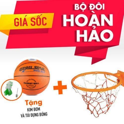Combo bộ sản phẩm Vành bóng rổ 40cm + quả bóng rổ số 5 (Cam) Nhật Bản