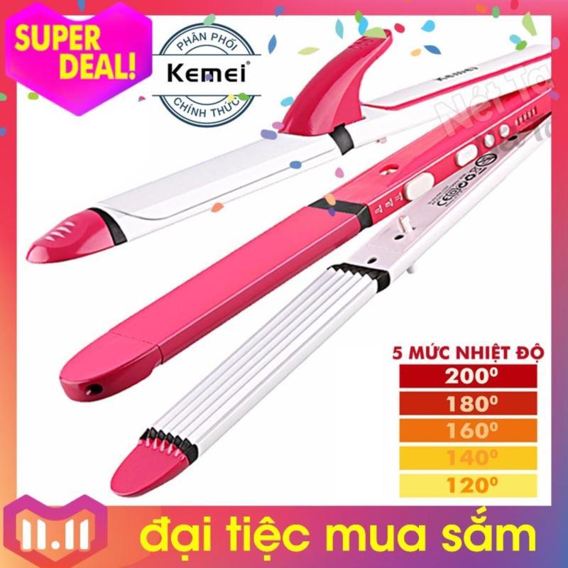 Máy tạo kiểu tóc 3in1 điều chỉnh nhiệt độ Kemei 3304 uốn, duỗi, dập xù tóc đa năng Hãng phân phối chính thức