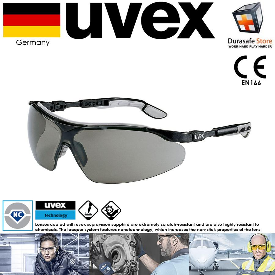 KÍNH UVEX 9160076 I-VO Safety Glasses Grey/Black Frame Grey Supravision Sapphire Len