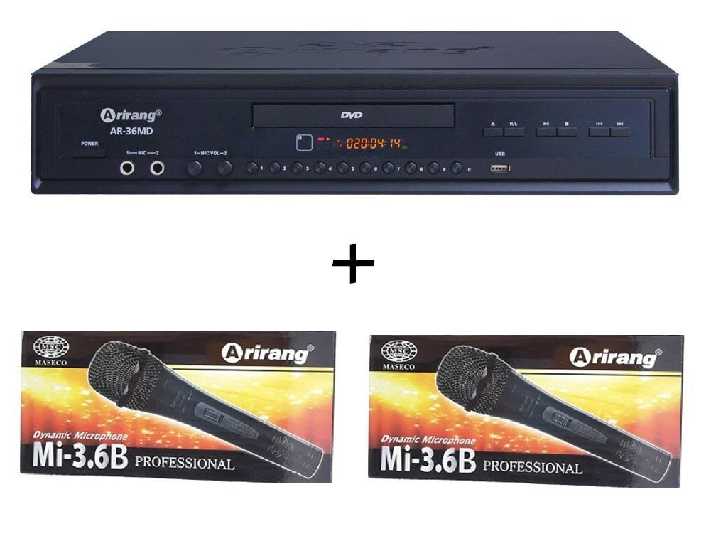 Bảng giá Đầu DVD Karaoke Arirang AR-36MD  + 2 micro có dây Arirang 3.6B