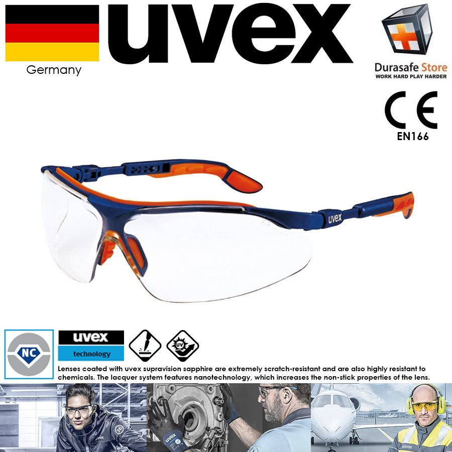 KÍNH UVEX 9160065 I-VO Safety Glasses Clear Supravision Tròng Sapphire Trong Suốt,  GỌNG XANH CAM