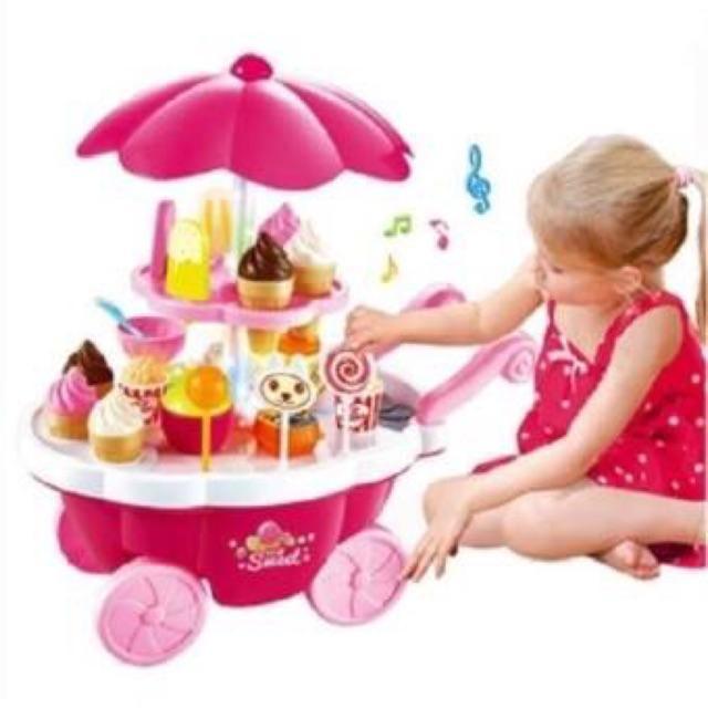 Hình ảnh Bộ đồ chơi xe đẩy bán kem 2 tầng cho bé