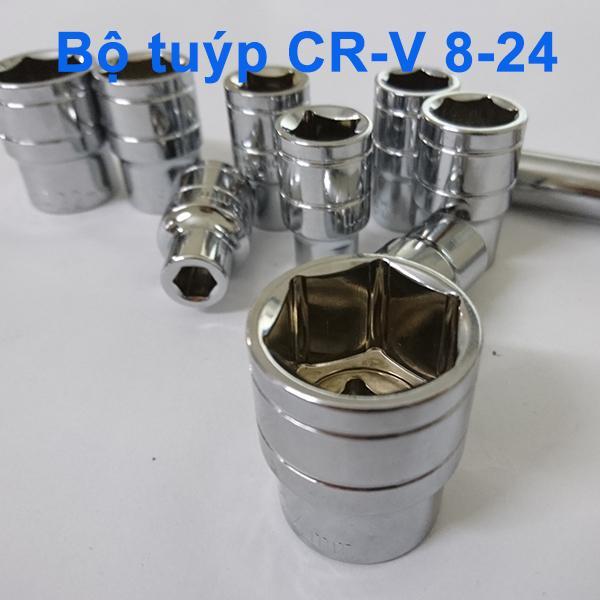 Bộ khậu vặn ốc 12 chi tiết - Thép CR-V  cao cấp 8-24