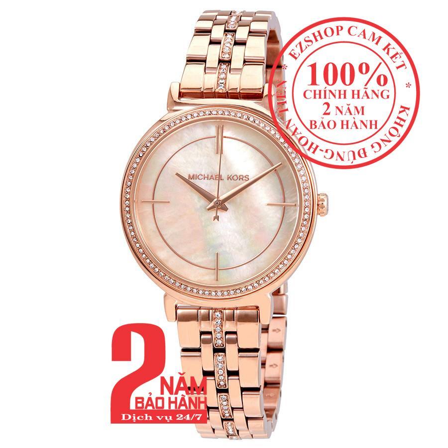 Đồng hồ nữ Michael Kors MK3643, Vỏ, mặt và dây màu Vàng hồng (Rose Gold), mặt đồng hồ khảm trai, viền đá pha lê Swarovski, size 33mm - MK3643 bán chạy