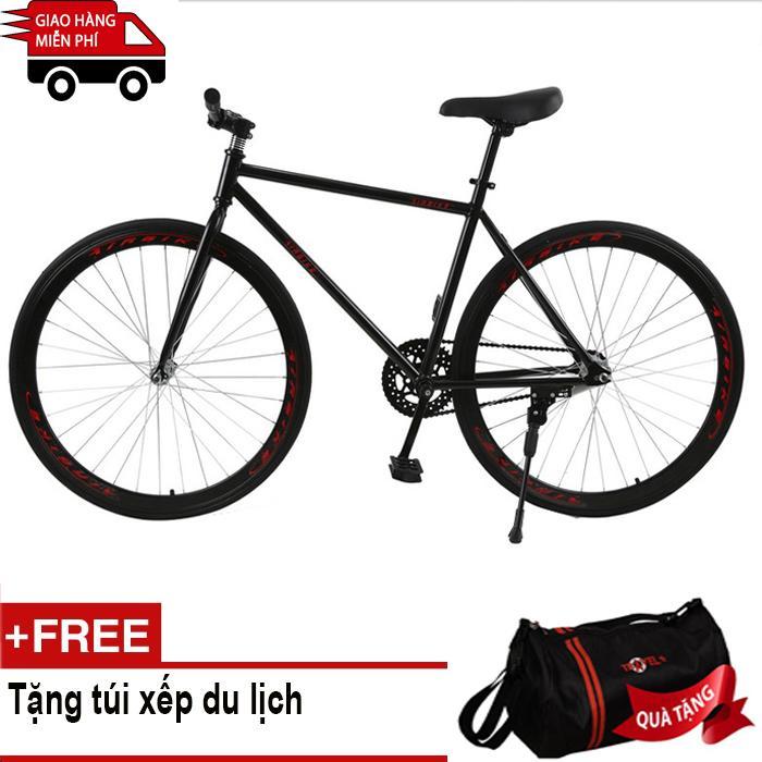 Mua Kachi - Xe đạp Fixed Gear Air Bike MK78 (đen) + Tặng túi xếp du lịch