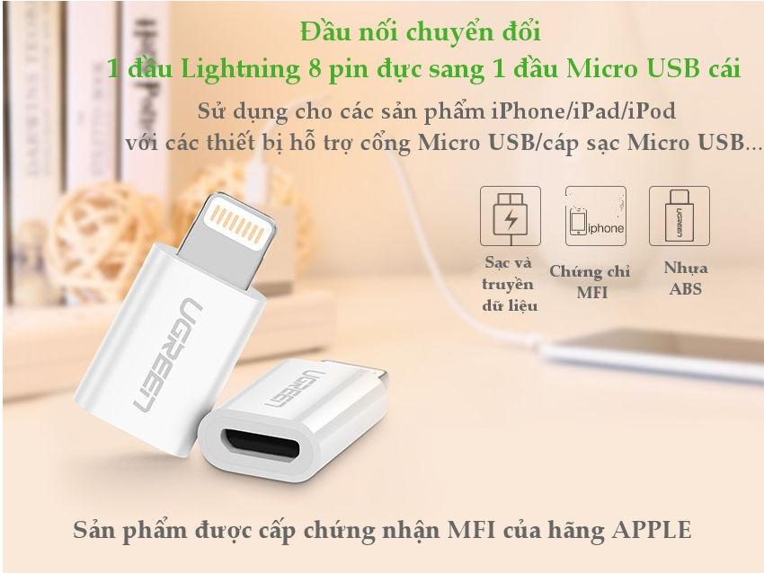 Đầu chuyển đổi Micro USB sang Lightning MFI UGREEN US258 /US164