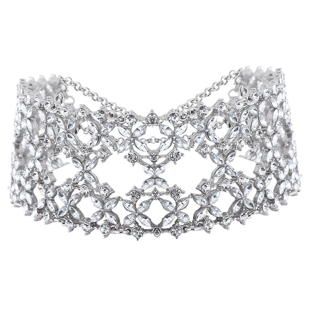 YANYI Women Fashion Punk Chain Collar Necklace Wide Band Rhinestone Choker