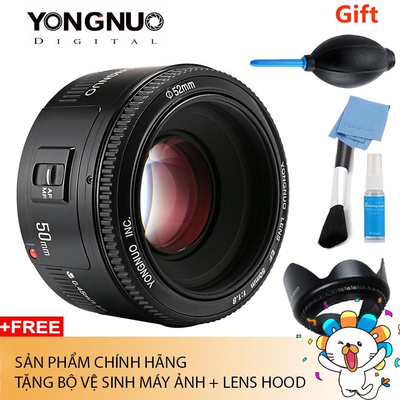 Ống Kính Yongnuo 50 F1.8 For Canon Chính hãng (Tặng bộ vệ sinh máy ảnh + lens hood)