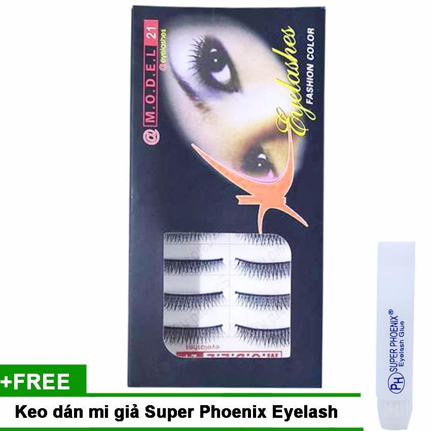 Mi giả trong suốt tự nhiên Model Eyelashes Fashion (10 cặp) + Kem dán mi Super Phoenix 5ml tốt nhất