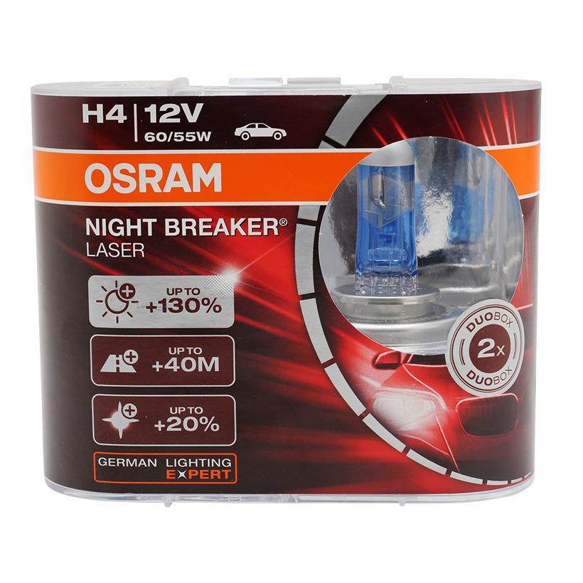 Ôn Tập Bộ 2 Bong Đen O To Osram H4 Night Breaker Laser 130 Trắng Xanh Mới Nhất