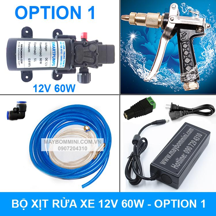 Máy rửa xe mini 12V 60W đầy đủ phụ kiện tự động tiện lợi đa năng - option 1