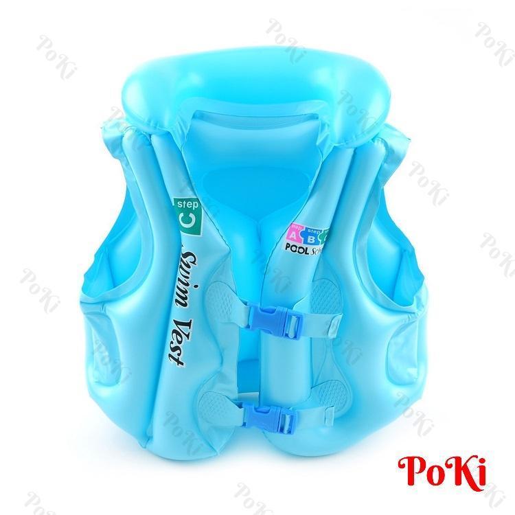 Áo phao bơi trẻ em ABC - Size M (bé từ 4-10 tuổi), chất liệu nhựa dẻo PVC an toàn CHỐNG LẬT, chống thấm nước tuyệt đối cao cấp - POKI
