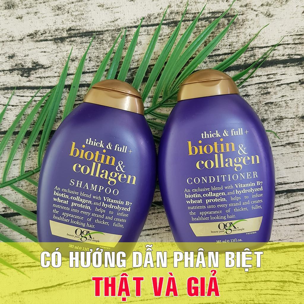 Cặp gội xả Biotin Collagen 385ml, trị rụng tóc, phục hồi tóc hư tổn, hàng nhập Mỹ Nhật Bản