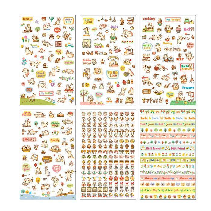 Mua 6 sheets/set DIY Cute Cartoon Cat Paper Planner Sticker Scrapbooking Diary Phone Sticker For Kids Children Stationary - intl