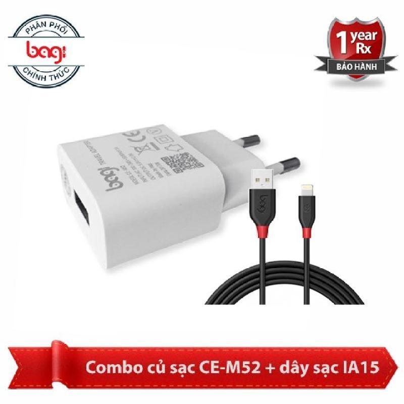 Combo Cáp sạc iphone CB-IA15 + củ sạc bagi CE-M52