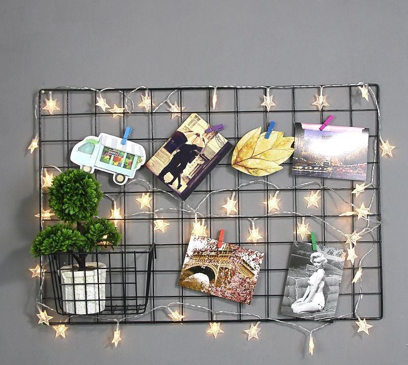 1 khung hình lưới sắt decor nghệ thuật tặng kèm dây đèn trang trí khi mua 2 cái