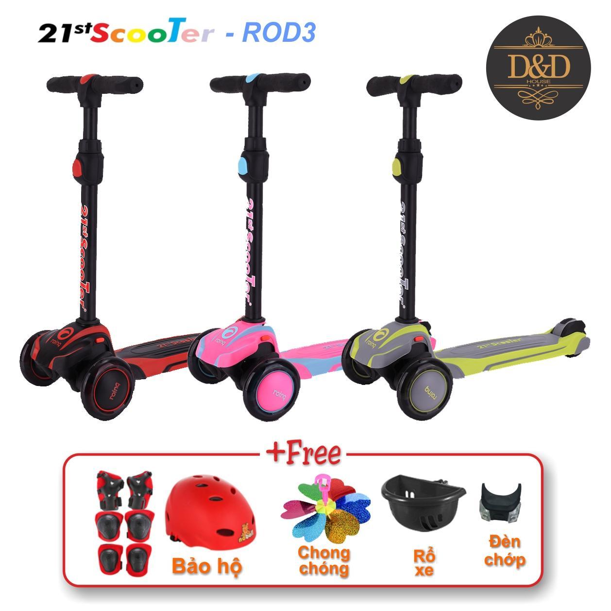 Xe trượt scooter 21st có giảm xóc, 3 bánh phát sáng cao cấp cho bé (Tặng kèm bộ bảo hộ 7 món & nhiều quà khác)