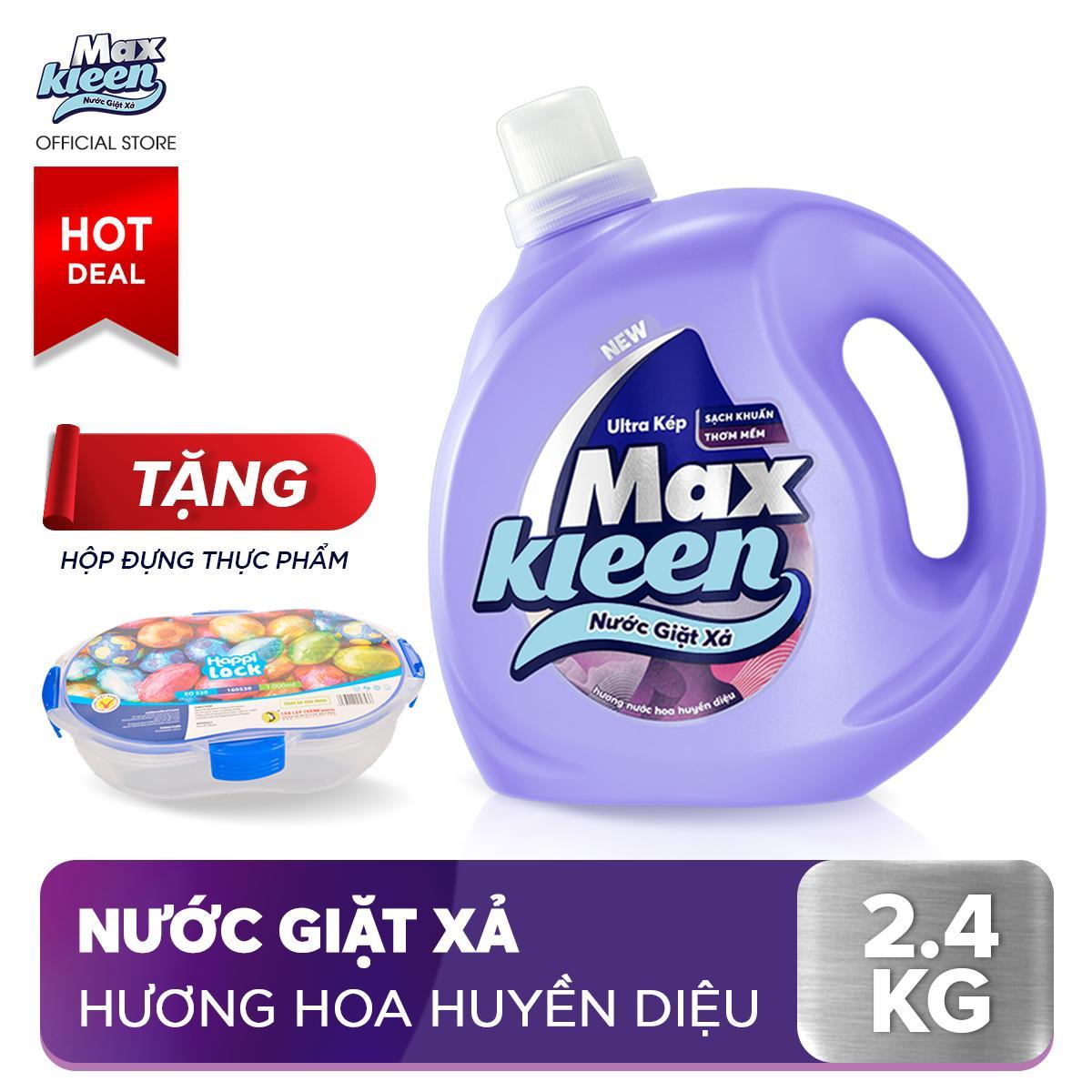 Chai nước giặt xả Maxkleen Hương Nước Hoa Huyền Diệu thơm mềm tiện lợi & tiết kiệm (2.4kg)+ Tặng Hộp đựng thực phẩm