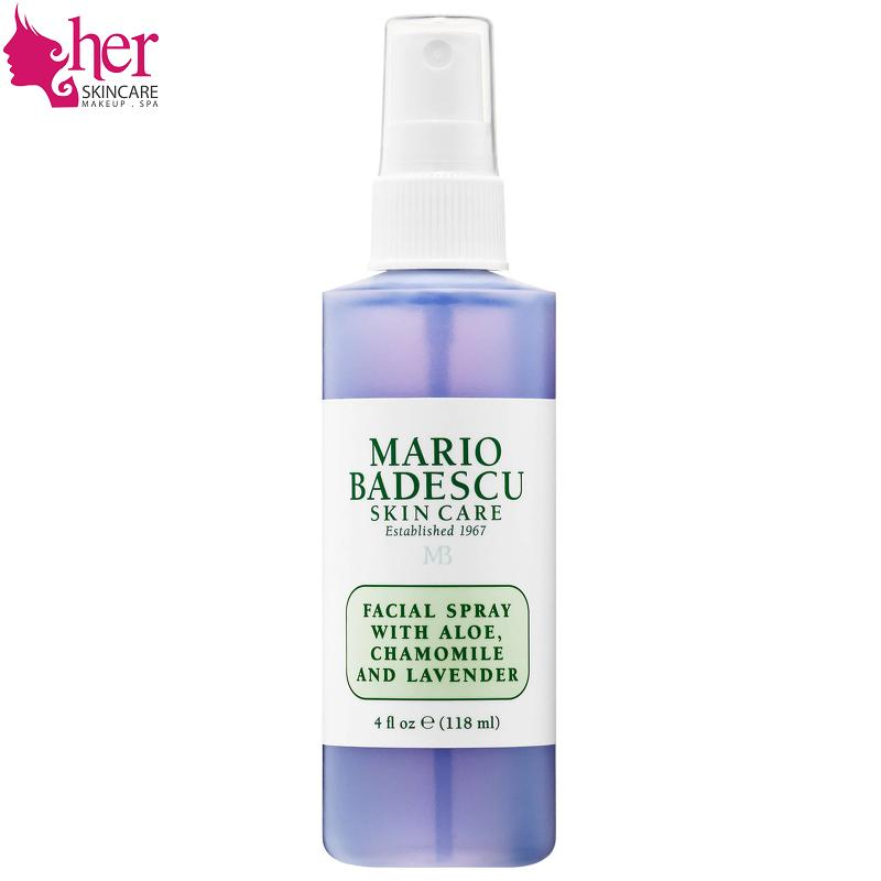 Xịt Toner cấp ẩm Mario Badescu FACIAL SPRAY WITH ALOE, CHAMOMILE AND LAVENDER 118ml (HerSkincare)