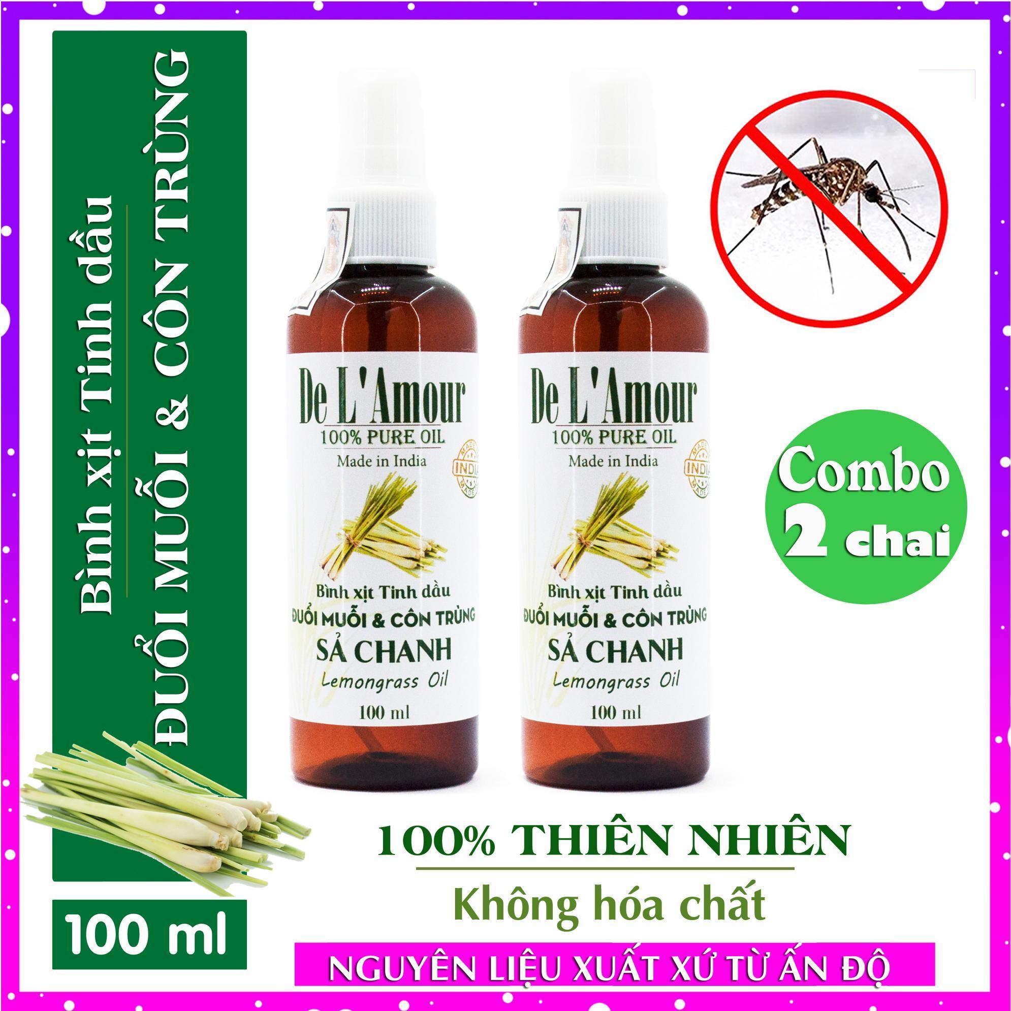 Combo 2 Bình Xịt Sả Chanh giúp Đuổi muỗi và Côn trùng De LAmour từ Tinh dầu Sả Chanh (100ml) - Ấn Độ - Maileedanang - tinh dầu đuổi muổi - xịt khử trùng thơm phòng