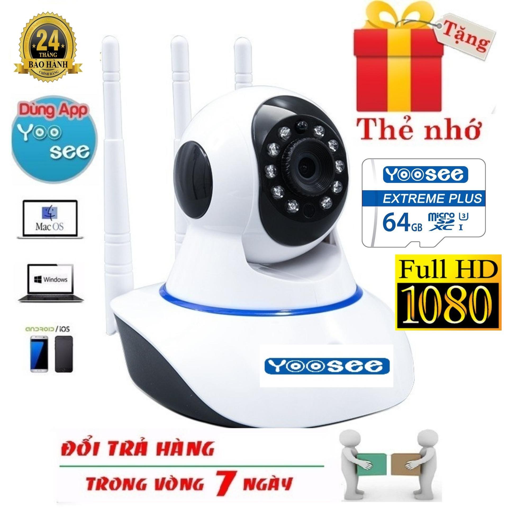(Tặng kèm thẻ nhớ yoosee 64gb BH 24 tháng dùng thử miễn phí 14 ngày) Camera Ip YooSee 3 Râu Full HD 2.0Mpx 1080p Tiếng Việt NEW 2019 - Hỗ trợ xem đêm, đàm thoại 2 chiều, lưu trữ video - NEW
