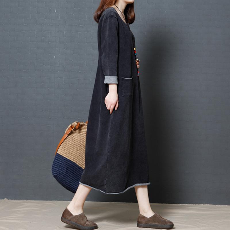Vải Bò ĐẦM MÙA THU Váy Dài 2019 Vào Mùa Xuân Và Mùa Thu Trung Niên Phiên Bản Hàn Quốc Dáng Suông Rộng Big Size Qua Đầu Gối Dáng Dài Tôn Dáng Dài Tay Nữ