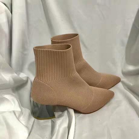 Giày bốt nữ len cổ chun mới - giày boot nữ boots nữ giày cao gót nữ màu đen màu kem phong cách thời trang ulzzang fashion hàn quốc đế vuông cao 5p 5 phân mũi nhọn đẹp giá rẻ công sở đi học đi làm đi chơi cực chất hot 2019
