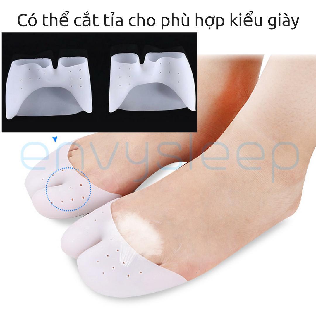 Lót giày Silicon ENVYSLEEP bít ngón chống chai ngón, giảm đau ngón cái & út khi mang giày (nửa bàn chân), size 37- 46, màu da